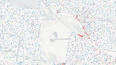 Language distribution for the area around Caulfield Racecourse and Monash University's Caulfield campus.