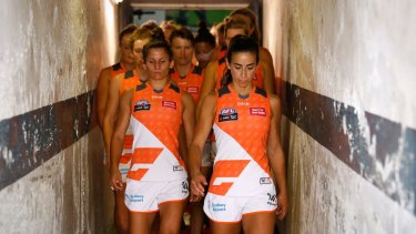 Amanda Farrugia leads the GWS into the fray.