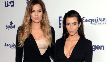 Khloe Kardashian, left, and Kim Kardashian arrive at NBC's Upfront last year.