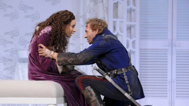 Andrea Demetriades and Mitchell Butel in Sydney Theatre Company's Arms and the Man.