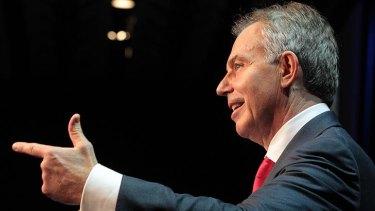 Former British prime minister Tony Blair during yesterday's address.