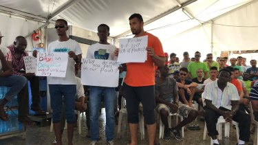 A protest for water and power at the detention centre on Manus Island.