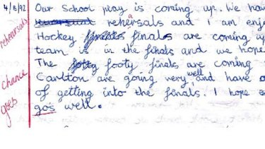 The page from Andy Lee's diary in 1992.