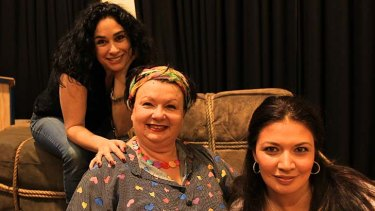 Bling … from left, Rinat Shaham, Gale Edwards, and Milijana Nikolic. Edwards has drawn inspiration from Hollywood.