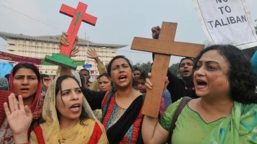 Pakistani Christians shout slogans as they take part in a protest to demand better protection for their community.