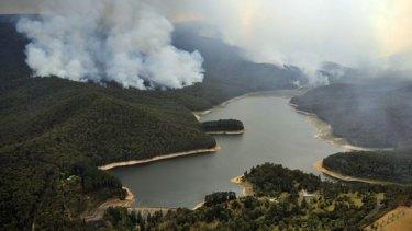 Bushfires around Maroondah Dam, Healesville, last week.