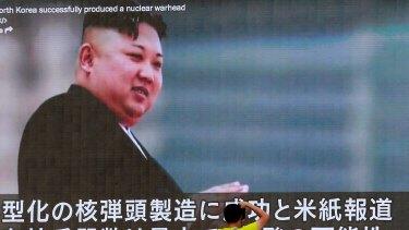 Kim Jong-un's image on a Japanese news program.