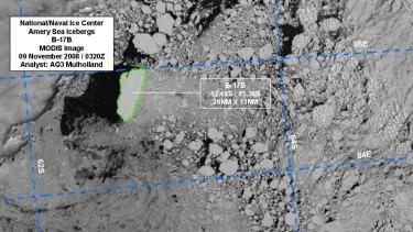 Satellite image of the giant iceberg heading towards WA.
