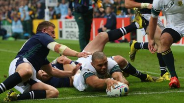 NEWCASTLE UPON TYNE, ENGLAND - OCTOBER 03:  Bryan Habana of South Africa goes over to score their third try during the 2015 Rugby World Cup Pool B match between South Africa and Scotland at St James' Park on October 3, 2015 in Newcastle upon Tyne, United Kingdom.  (Photo by Alex Livesey/Getty Images)