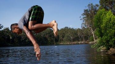 Cooling off at Lake Parramatta.