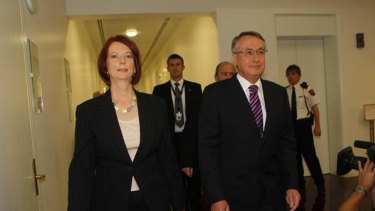 Deputy Prime Minister Julia Gillard with support from Treasurer Wayne Swan enters a leadership ballot against Prime Minister Kevin Rudd.