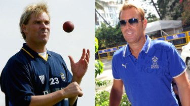 A heftier Shane Warne in 2004 and his slimmer self in May.