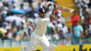 Style and substance ... India's master craftsman, Sachin Tendulkar, strokes a shot during play in the first Test against Australia.