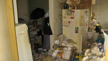 Rubbish piled up in the house of an elderly woman in the Caulfield area. Her family had no idea of the conditions.