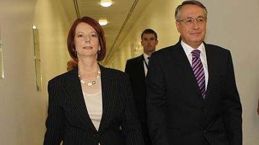 Julia Gillard and Wayne Swan arrive for the vote.