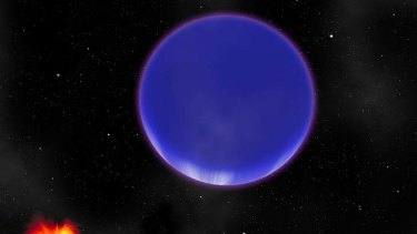 """An artist's conception of a """"hot Neptune"""" known as Kepler-36c as it looms in the sky of its neighbor, the rocky world Kepler-36b."""
