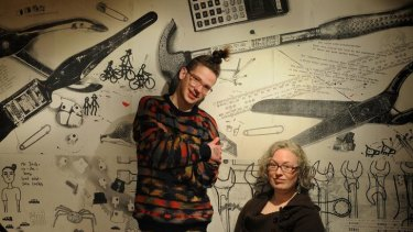 Manager Eloise Pearce in the DIY publishing studio Sticky Institute with a regular, Grant Gronewold.