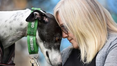 Newtown resident Laurina Chilcott and Atlas at a rally in support of the greyhound racing ban.