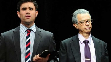 Young and old: Guy Edmonds and Sean O'Shea as Rupert Murdoch.