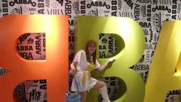 Super Trouper ... Cotton Ward at ABBAWorld in her homemade cat costume and rare ABBA bag.