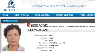 An Interpol notice for Melbourne grandmother Zhou Shiqin who was one of China's most wanted, until she returned home to clear her name. She will now be prosecuted.