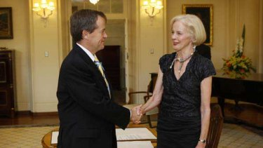 Governor-General Quentin Bryce swearing Bill Shorten in as a parliamentary secretary last year.