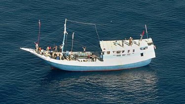 A boat carrying asylum-seekers off the northern coast of Australia in April.