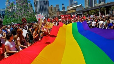 Protesters in Sydney call on the Labor Party to support same-sex marriage. Some advocates are optimistic that Kevin Rudd's elevation to the leadership will help their cause.