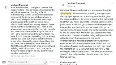 Two of Michael Diamond's Facebook posts.
