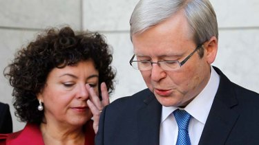 A key moment: Kevin Rudd and his wife, Therese Rein,  during his press conference on Thursday 24 June 2010 Parliament House Canberra after he was deposed by Julia Gillard.
