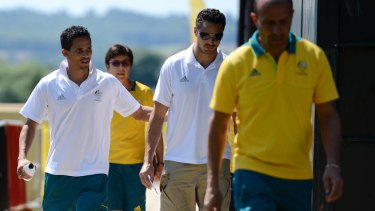 John Steffensen and Josh Ross on their way to a press conference yesterday.