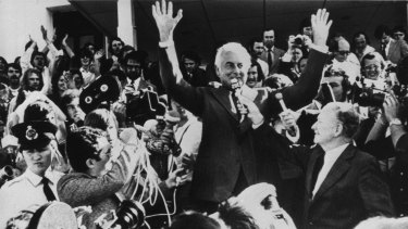 Gough Whitlam addresses the crowd outside Parliament House in Canberra.