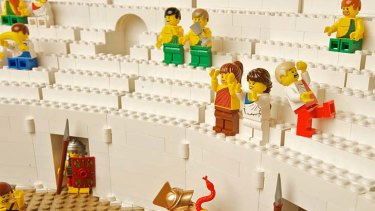Spectators at the Lego Colosseum.