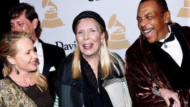 Joni Mitchell at the pre-Grammy gala on February 7, 2015.