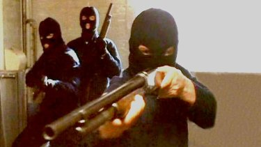 A scene from a TV mini-series based on the robbery.