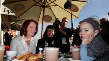 Julia Gillard has morning coffee with Ella Wilcox, aged 4, in Perth  Saturday 31 July 2010. <i>Picture: Andrew Meares</i>
