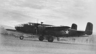 HONOURED: Edward Mobsby's plane taking off from Seven Mile Air Base on July 2, 1942 - 22 days before the plane was shot down in flames.