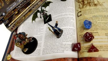Books, die, and figurines from Dungeons and Dragons