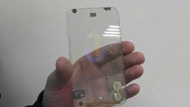 Polytron's prototype transparent smartphone.
