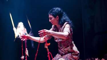There will be blood ... Julia Ohannessian in a production that eventually breaks free from the strings of naturalism.