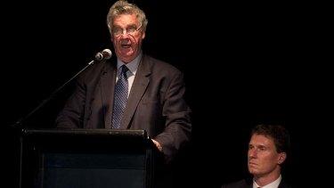 Senator Ron Boswell introduces Senator Cory Bernardi at the Broncos Leagues Club in Brisbane.