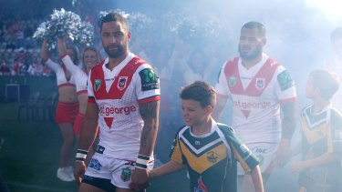 Career uncertainty: Benji Marshall takes the field at Jubilee Stadium in what could have been his last game in the NRL.