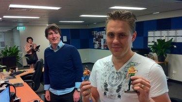 Halfbrick game designers Joe Gatling and Adam Wood.
