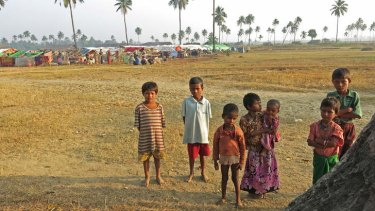 Displaced Rohingya children at the edge of Camp Coconut.