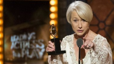 'Baby, this is for you': Helen Mirren accepting her Tony Award in New York Sunday night.