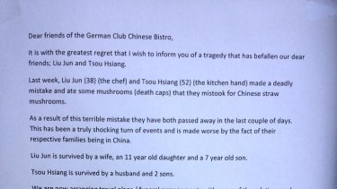 The photo pinned to the door of the Chinese restaurant where the deadly mushroom dish was cooked.