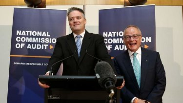 Side-splitting: Finance Minister Mathias Cormann shares a laugh with commission of audit chairman Tony Shepherd.
