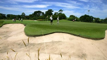 A view from one of the bunkers at Royal Melbourne during the 2005 Heineken Classic.