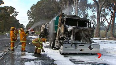 Tanker driven by controversial former detective Dennis Tanner burst into flames after hitting a kangaroo near Nagambie.