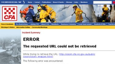 'Error' ... The CFA incident summary web page at 2pm today.